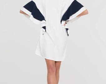 Black and White Knee Length Party Dress/Loose Short Dress/Extravagant Top/Tunic