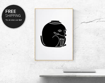 Print Art Black Cute Dude Modern Contemporary Interior Design Wall Decor by Blacklinebar