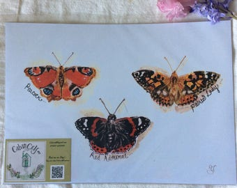 A4 print of original watercolour painting , British butterflies