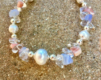 Blue Lace Agate, Rhodocrasite, and Pearl necklace set