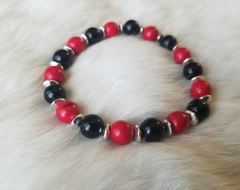 Red Howlite & Black Onyx Bracelet