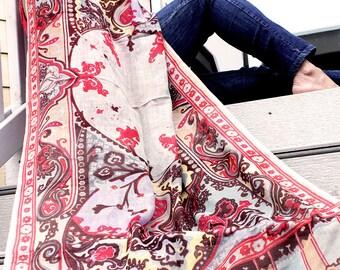 100%Wool Multi Colored Digital Print Scarf