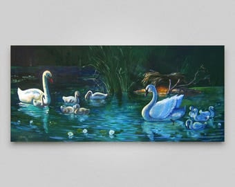 Original oil painting Birds painting Landscape river swans Canvas art Realism Wall hanging decor Original art Large canvas Discount painting