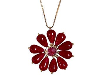 Spring Blossom Pendant / 925 Sterling Silver Chain