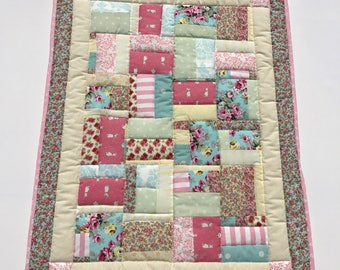 baby quilt, baby blanket, handmade quilt, cot quilt, baby shower, christening, birthday, pink blue cream, free shipping