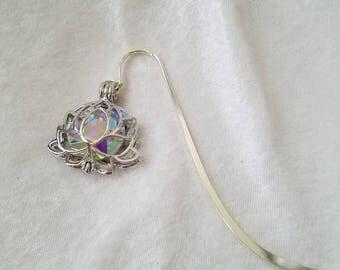 Aurora Bori-lotus, Crystal Lotus Bookmark, Aurora Borealis Crystal Bookmark, AB Crystal Bookmark, Silver Lotus Bookmark