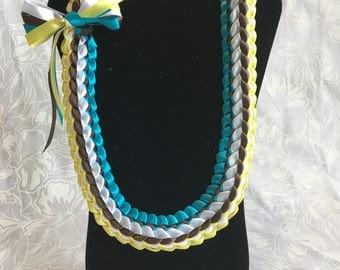 Hawaiian Ribbon Lei Hawaii Hula Graduation Present Doubl Braid Turquoise Brown White Canary Aloha