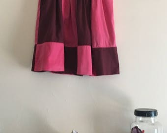 Pink and burgundy gathered skirt