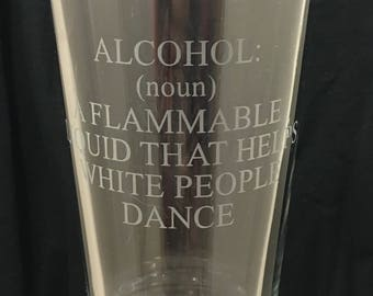 """Graduation Gift """"Alcohol Definition"""" Etched Pint Glass"""