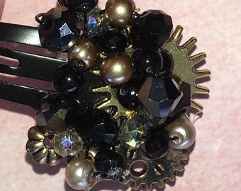 Black & Gold Steampunk Inspired Hair Clip