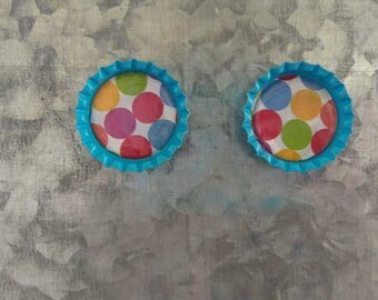 Polka Dot Bottle Cap Magnets