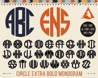 Circle Monogram Svg Bold Circle Monogram Font Svg Circle Monogram Alphabet Cut Files Silhouette Studio Cricut Svg Dxf Jpg Png Eps Pdf Ai