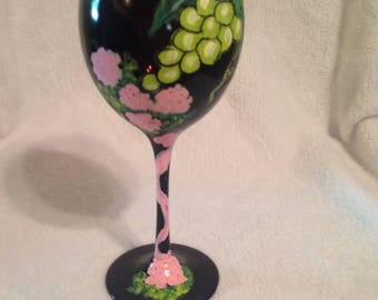 Floral love wine glass
