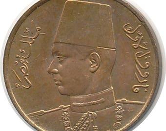 EGYPT 1938 AH1357 1 Millieme - KM-358 - Choice Red B.U.