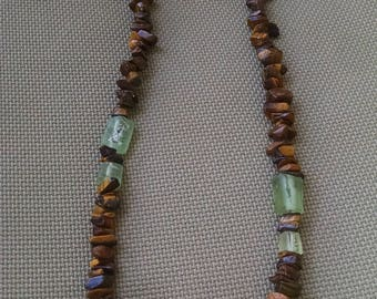 Roman Glass and Tiger Eye Neclace