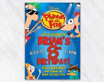 Phineas and Ferb Invitation for Birthday Party - Printable Digital File