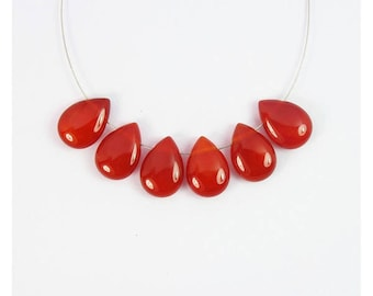 6 Beads Red Agate 10x14mm Flat Tear-drop Beads CB799