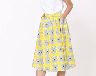Full Midi Skirt- Daisy Print