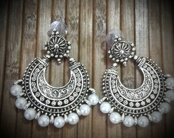 German Silver Antique Finish Chandbali with white beads | Traditional Ethnic chandelier earrings
