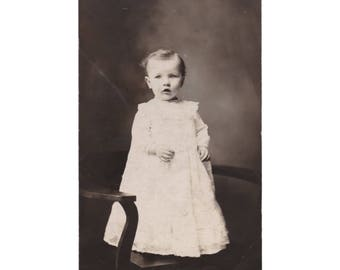 RPPC PEOPLE: Beautiful Baby Standing on Chair, Vintage Real Photo Postcard  ca. 1907-1918