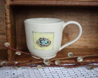 Handmade Pottery Bird's Nest Mug