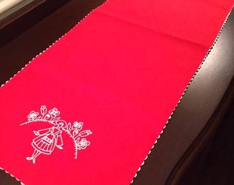 Vintage Cotton Red Dresser Scarf Doily with White Ric Rac Trim and Embroidery