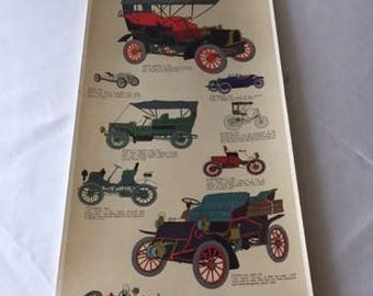 Vintage Antique Automobiles Poster printed by III Tre Tryckare, Gothenburg, Sweden, antique car poster