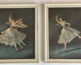 Vintage Ballet Dancers Pictures with Glittering Dress Shabby Chic, Little Girls Room Decor