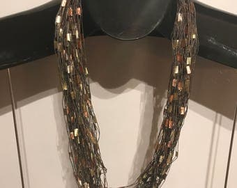 Bronze Handmade Scarf Necklace UNIQUE