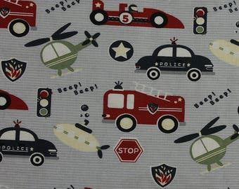 Zoom 'Emergency Services in grey' by Fabric Freedom Fat Quarter
