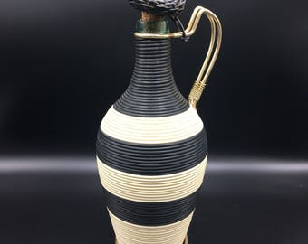 Bottle Scoubidou mid century glass pitcher/carafe design black and white handle brass lesinsolitesdenini Paris France stripe