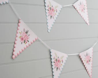 White & Pink Floral Bunting, Wedding Bunting, Baby Shower Bunting, Summer Party Decor, Birthday Party Bunting, Tea Party Bunting, 12 Flags