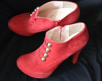 Shoe boots wedge platform P 36 Italian Red suede Vintage new One