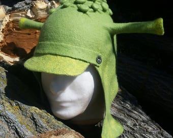 Unique handmade felt hats 100% wool Shreck