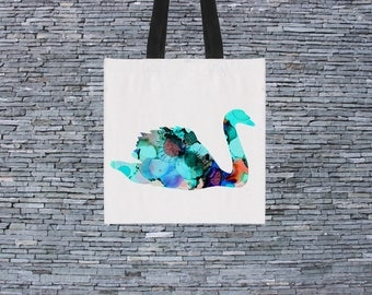 Cool Swan Bag - Art Tote Bag - Art Market Bag - Fashion Tote
