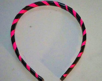 Neon Pink Striped Duct Tape Headband