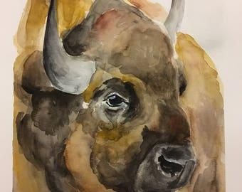 Buffalo watercolor print