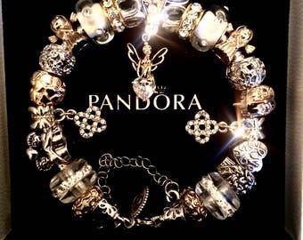 Pandora 925 Silver Gold Plated Angel Bracelet