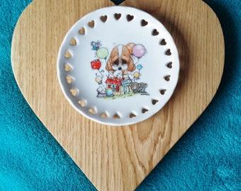 Handcrafted Wooden Heart Sad Sam Plaque - Solid Oak