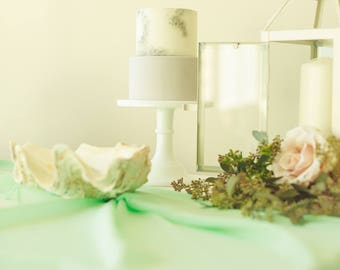 Mint table runner | sheer table runner | mint table runner | hand dye table runner | romantic table runner | vintage wedding runner