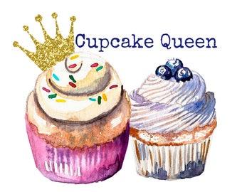 Premade Logo, Cupcake Logo, Crown Logo, Princess Logo, Business Graphics, Bakery Graphics, Bakery Logo, Shop Logo, Chic Watercolor