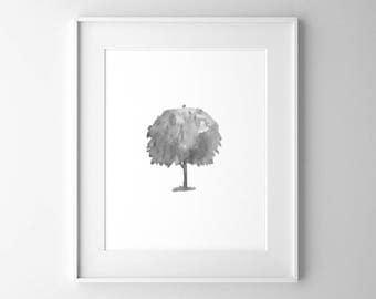 Serene Oak Tree, Botanical Art, Tree Art, Watercolor Print, Black and White