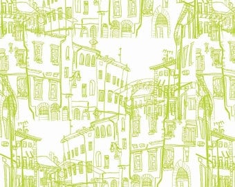 Fat Quarter RBD Designers - Pepe in Paris - Buildings Lime By Riley Blake Designs Cotton Quilting Fabric