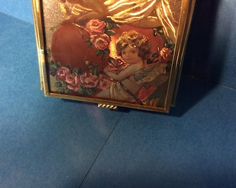 Via Vermont Brass Cupid Angel Jewelry Box.