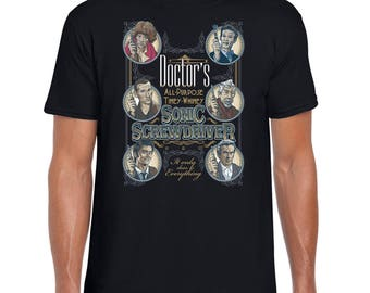 Sonic Screwdriver - Doctor Who Comic Book T-Shirt Funny Tee | Matt Smith | Doctor Who | British TV | David Tennant
