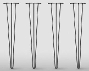 3 ROD, Hairpin Legs Set of 4, Raw Steel or Stainless Steel 3ROD Leg,  Mid Century Modern , DIY, Metal Table Legs, Hairpin legs