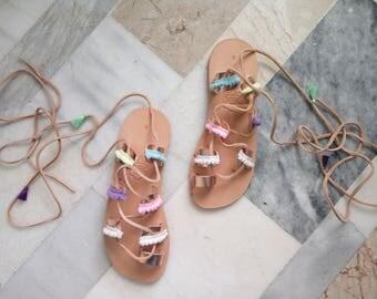 leather sandals boho greek