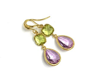 Crystal earrings, APPLE GREEN & PINK, gold plated
