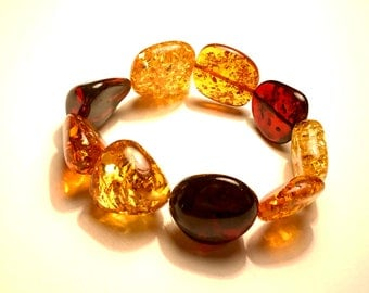 Natural Baltic Amber Woman Bracelet Rubber Thread Adjustable Sizes