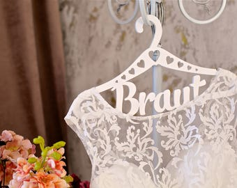 "White Wooden Wedding Hanger with Word  ""Braut"" by Wemilli"
